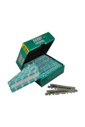 Derby Professional Half Blades. Το κουτάκι περιέχει 100 λάμες έτοιμες για χρήση. Τα ξυραφάκια είναι ήδη κομμένα στη μέση.