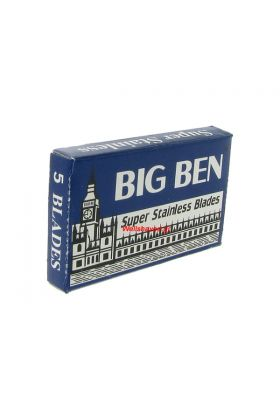 Ξυραφάκια Big Ben Super Stainless κατάλληλα για όλες τις ξυριστικές μηχανές. Κάθε κουτάκι περιέχει 5 ξυραφάκια.
