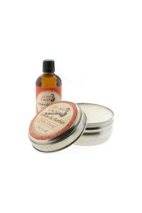 Σαπούνι ξυρίσματος και λοσιόν για μετά το ξύρισμα με άρωμα κέδρου και πατσουλί. Le Pere Lucien.