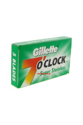 Gillette 7 o' Clock Super Stainless. Συσκευασία με 5 ανταλλακτικά ξυραφάκια.