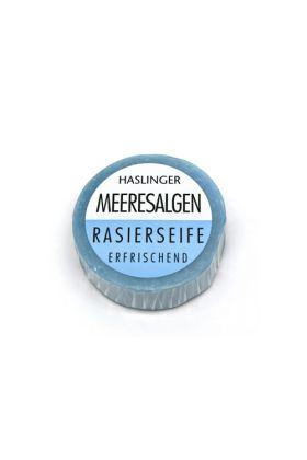 Σαπούνι ξυρίσματος Haslinger με Φύκια. Αν νιώθετε το δέρμα σας κουρασμένο και σφιχτό τότε δοκιμάστε αυτό το σαπούνι. Θα νιώσετε το πρόσωπο σας φρέσκο και ενυδατωμένο. Το σαπούνι αυτό περιέχει γλυκερίνη και Tallow (Ζωικό λίπος).