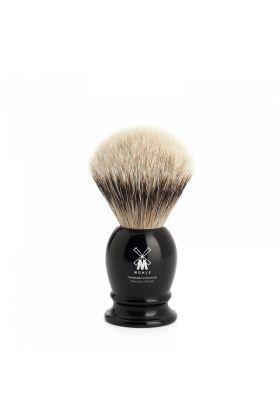 Πινέλο ξυρίσματος ασβού κατηγορίας Silvertip της Muhle με λαβή σε μαύρο χρώμα από υψηλής ποιότητας ρητίνη.  Small Size - 19mm (Knot)