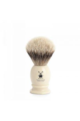 Πινέλο ξυρίσματος ασβού κατηγορίας Silvertip της Muhle με λαβή σε άσπρο χρώμα από υψηλής ποιότητας ρητίνη.  Small Size - 19mm (Knot)