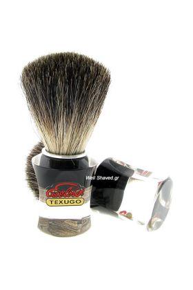 Πινέλο ξυρίσματος ασβού (Pure Badger) – Semogue 740 - Συνολικό ύψος : 9,90 cm - Ύψος λαβής : 4,30 cm - Μήκος τρίχας : 5,40 cm - Διάμετρος Knot : 2,10 cm – Λαβή από ακρυλικό.